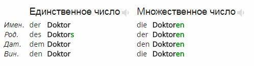 Доктор Doktor - множественное число в немецком языке